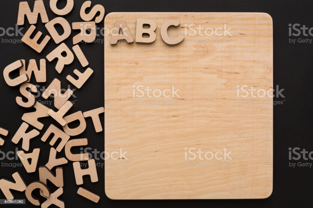 ABC on wooden board, copy space stock photo