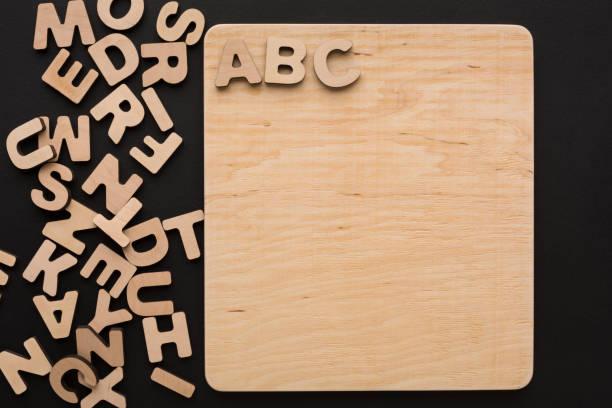 ABC sur planche de bois, copiez l'espace - Photo
