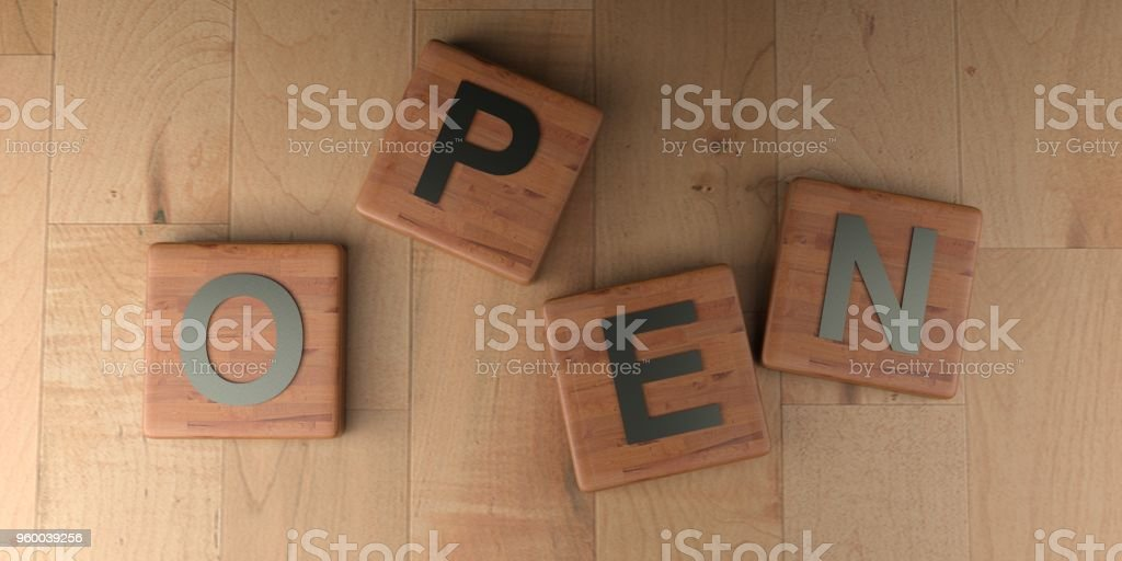 Open On Wooden Tags 3d Rendering Stock Photo - Download
