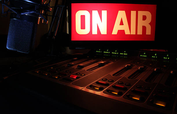 on-air radio panel - radio station stock photos and pictures