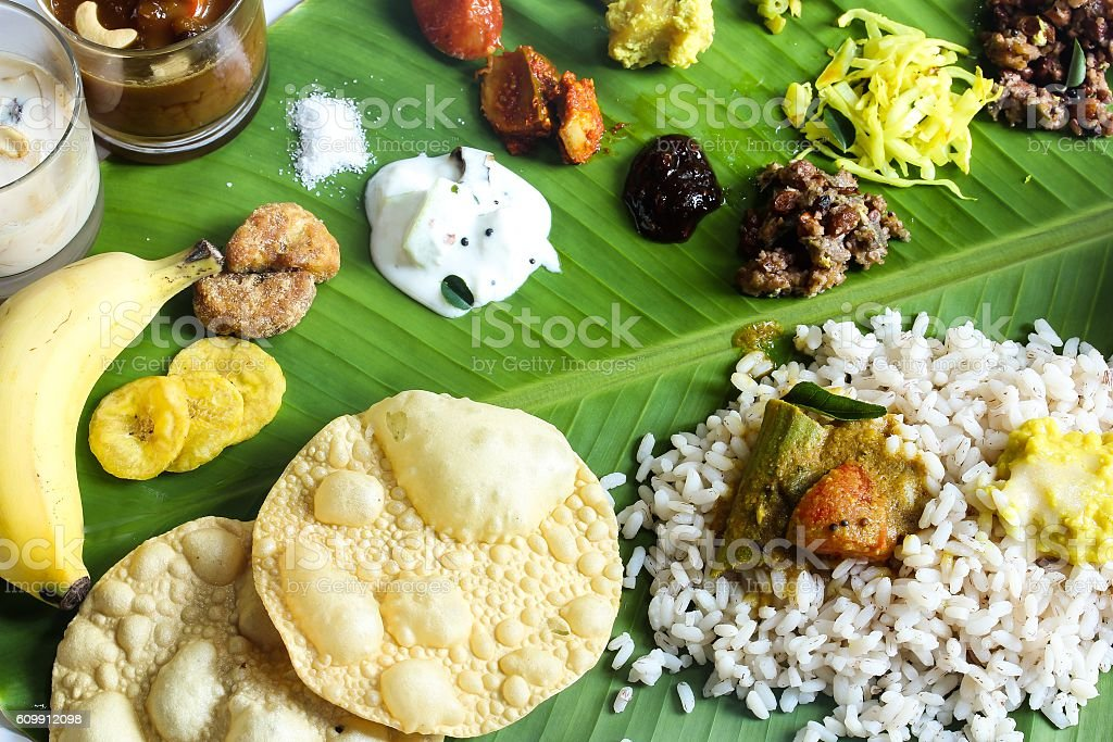 Onam Feast on banana leaf stock photo