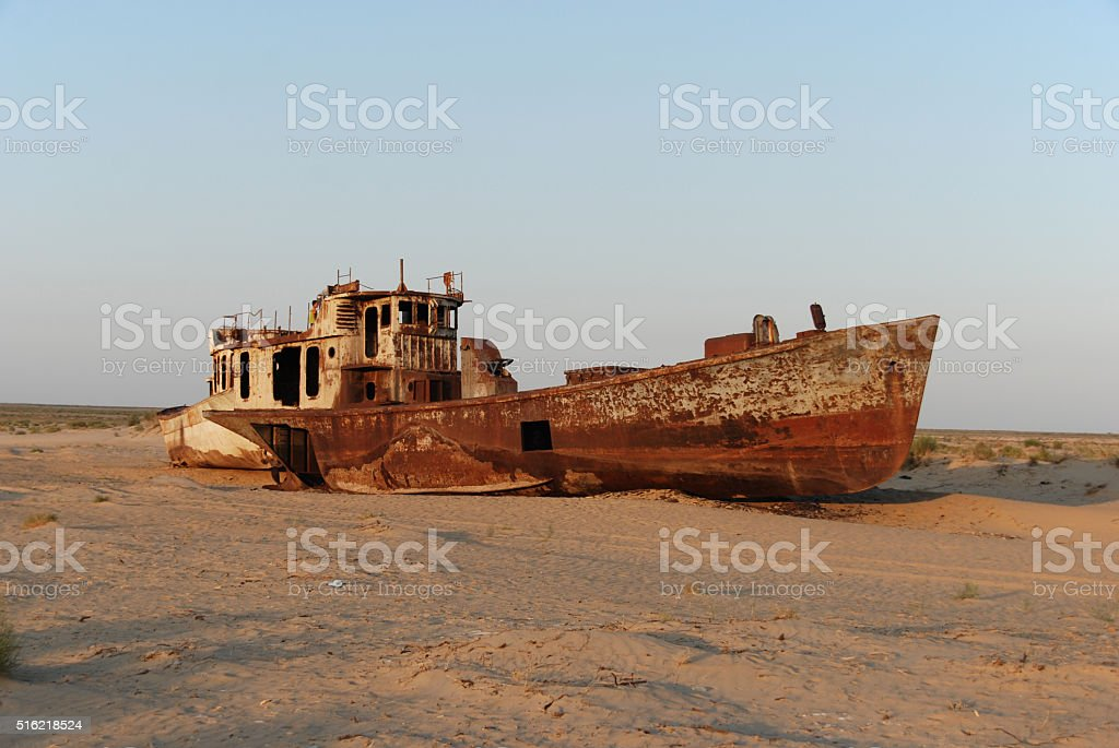 Once the Aral Sea, now a desert stock photo