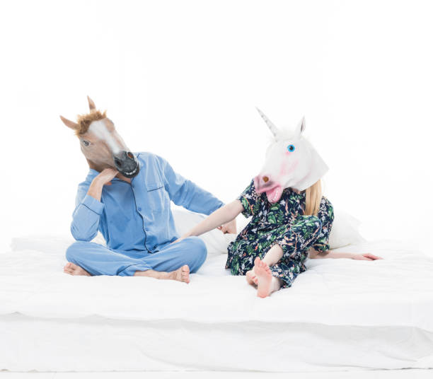 once upon a time, a horse married a unicorn and they lived happily ever after - unicorn bed imagens e fotografias de stock