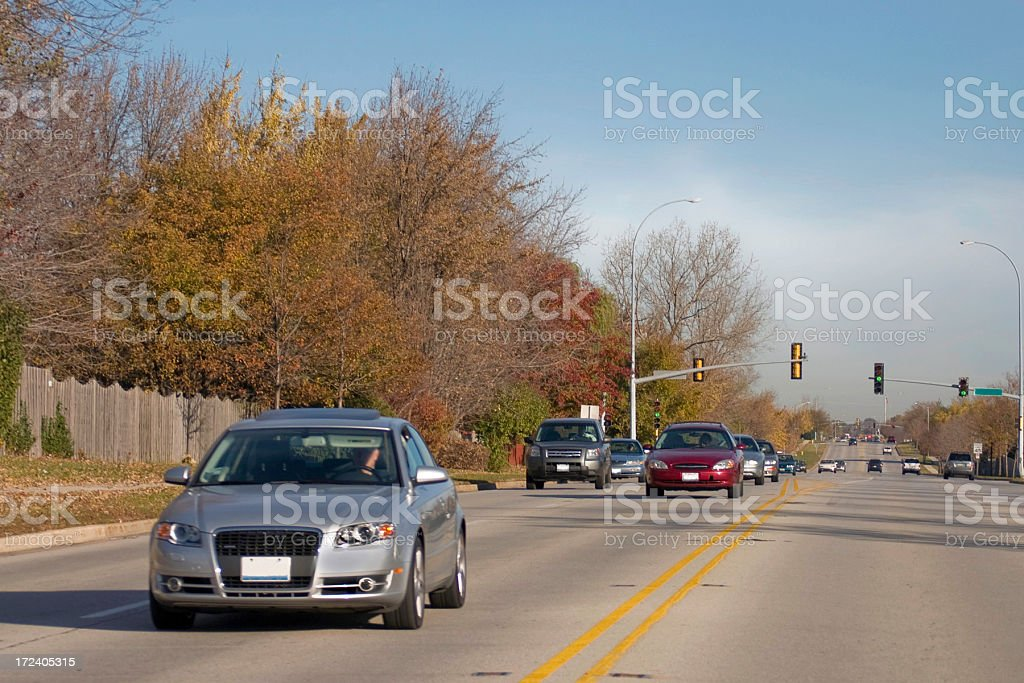 oncoming fall traffic stock photo