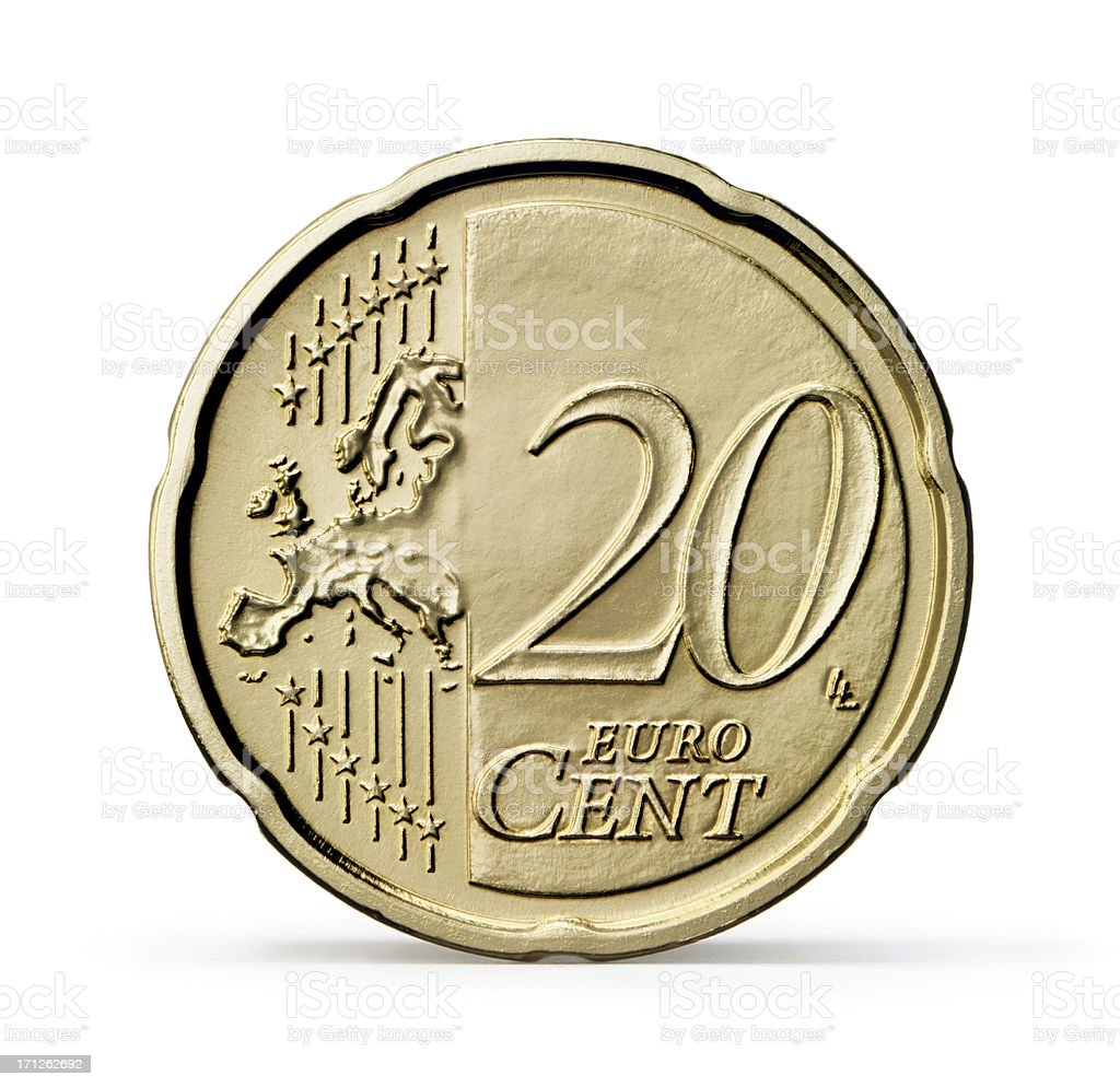 One 20 Euro cent coin (+clipping path) stock photo