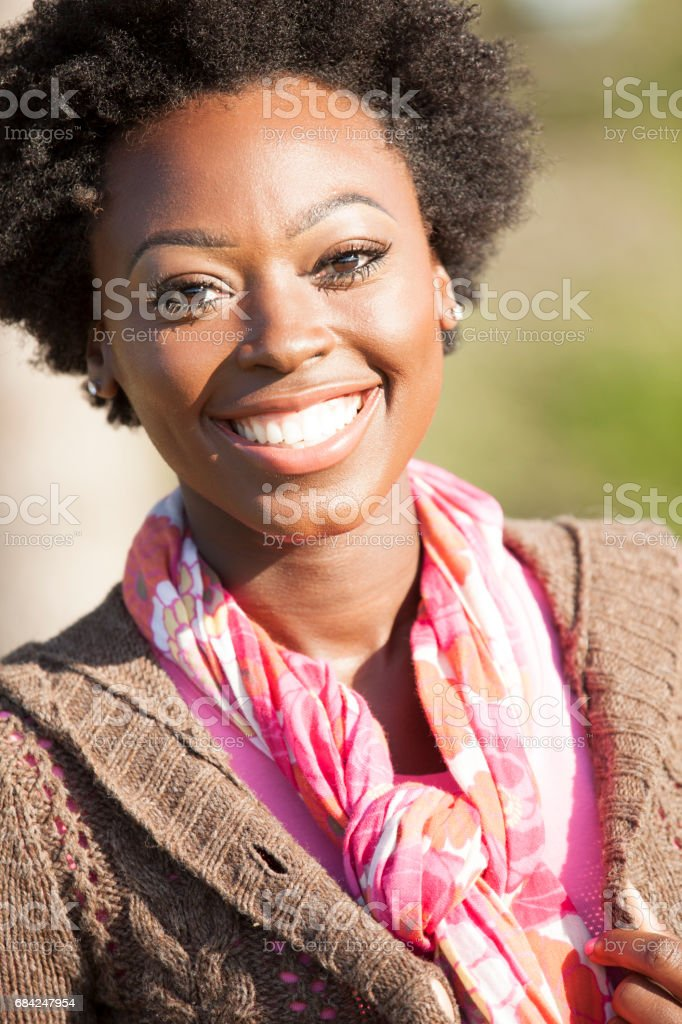 One African descent woman outdoors in park. royalty-free stock photo