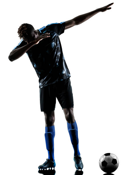 one african soccer player man isolated white background silhouet stock photo