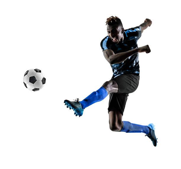 ein afrikanischer Fußballer Mann isoliert weißen Hintergrund silhouet – Foto