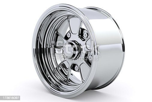 One alloy car rim isolated on a white background. 3D rendered.