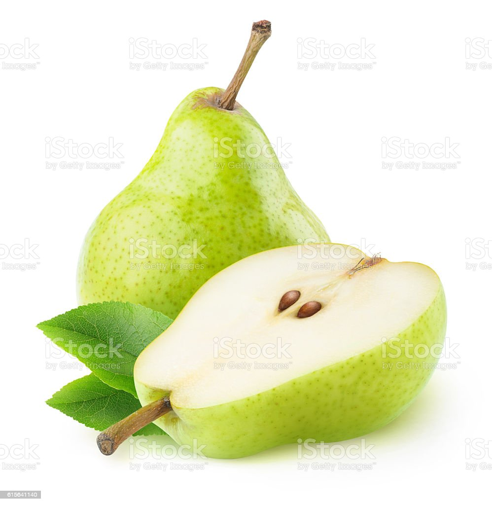 One ana a half isolated green pears – Foto