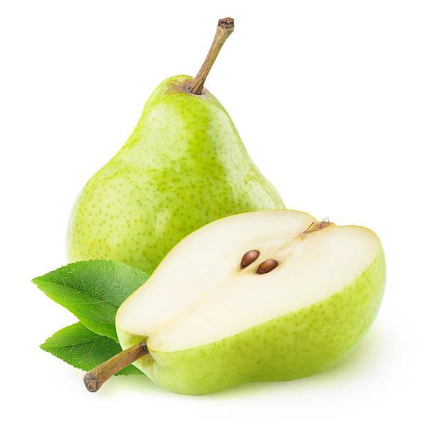 one ana a half isolated green pears - pera foto e immagini stock