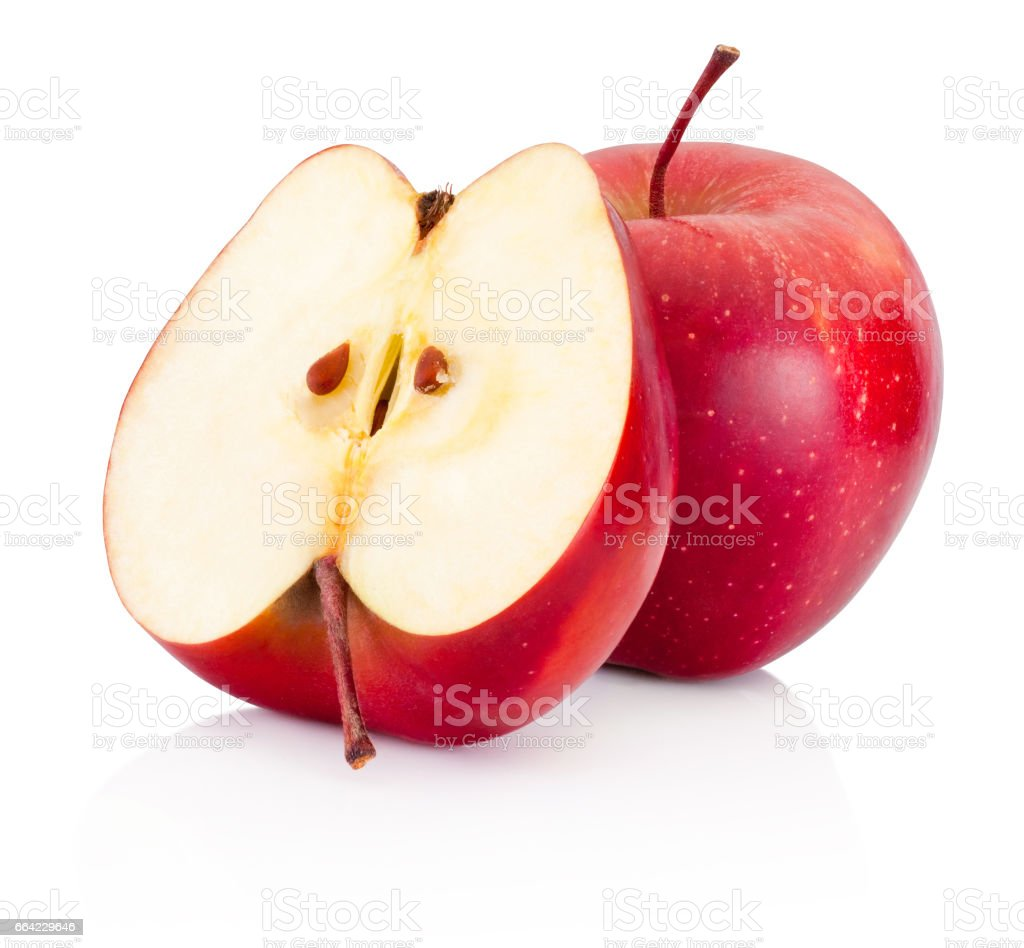 One and a half red apples isolated white background stock photo