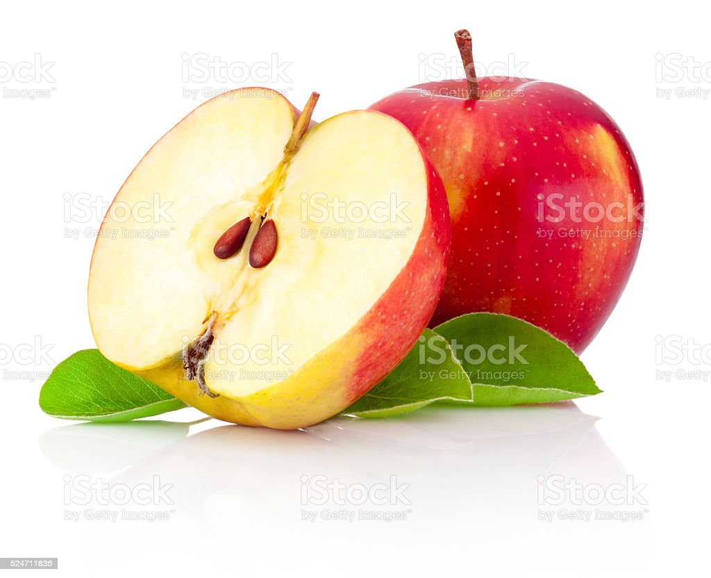 One and half red apples isolated white background stock photo
