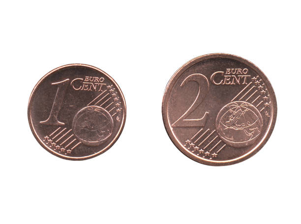 Um e dois cêntimos de Euro (EUR) moedas, União Europeia (UE) isolado - foto de acervo