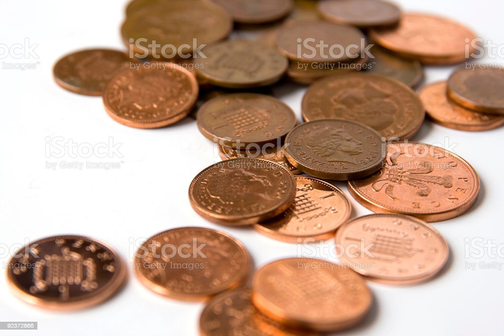 One and two pence coins royalty-free stock photo