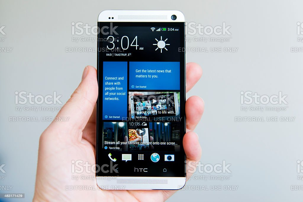 HTC One – Android phone with aluminum body stock photo