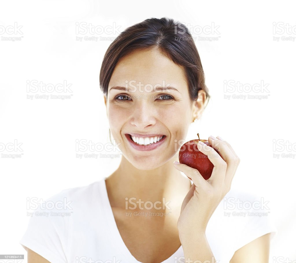 One apple a day keeps doctor away stock photo