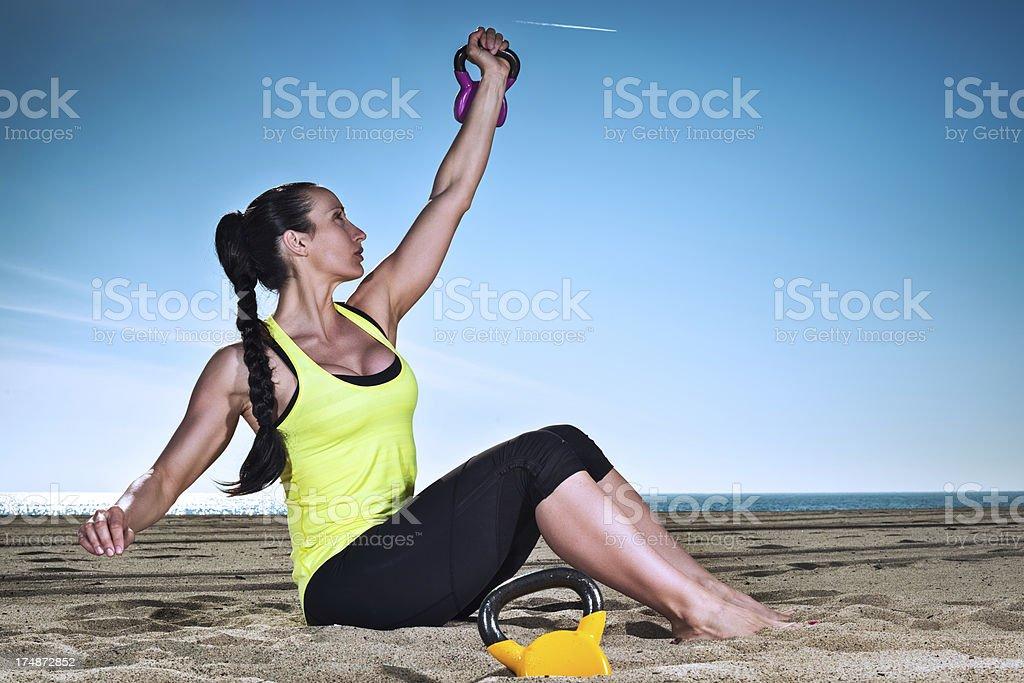 One arm exercise royalty-free stock photo