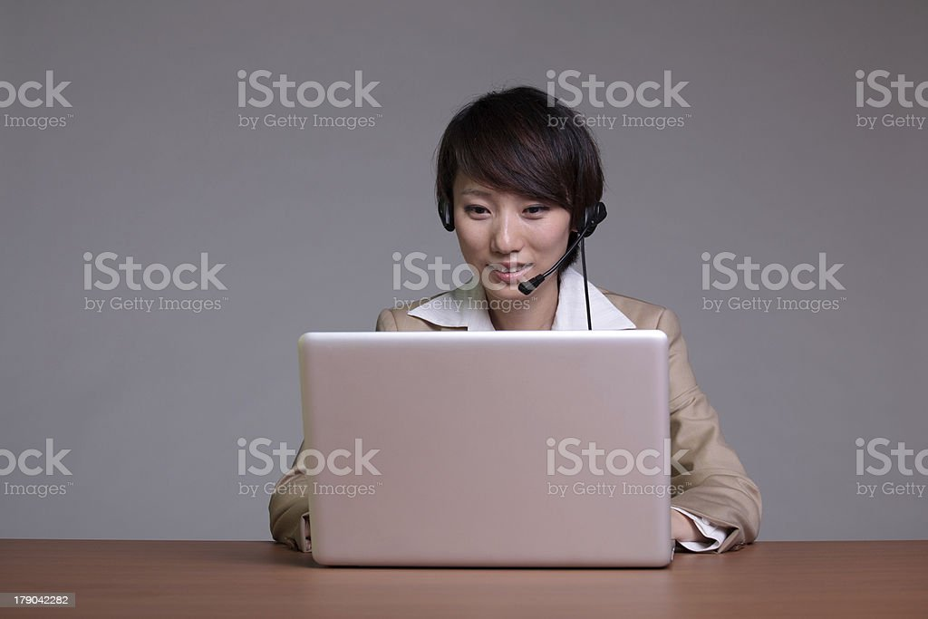 one asian businesswomen in office royalty-free stock photo
