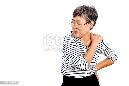 698466046istockphoto One Asian elderly woman express action of shoulder pain and isolate on white background with copy space 1162761873
