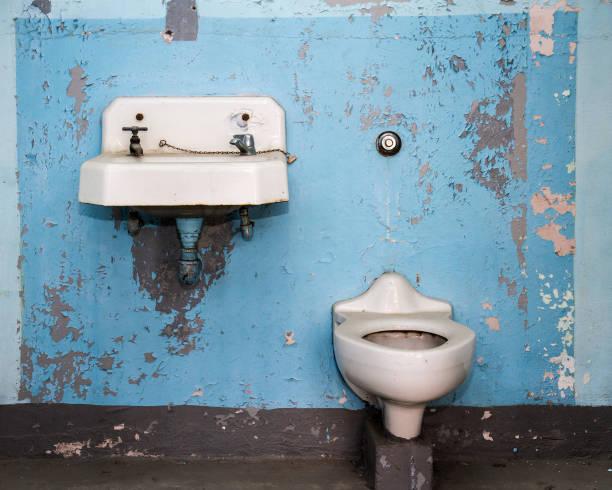 One bad bathroom stock photo