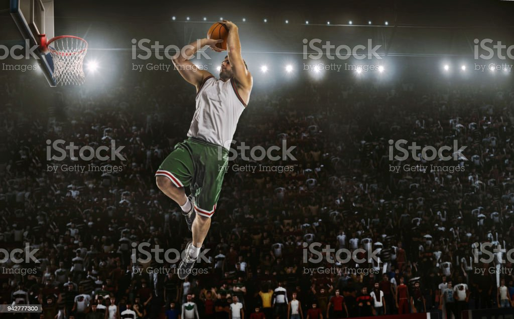 One Basketball Player Jump In Stadium Panorama View Stock Photo - Download  Image Now