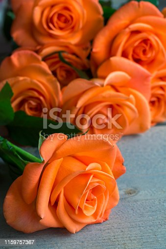 One beautiful orange rose is on the wood with a bouquet as background
