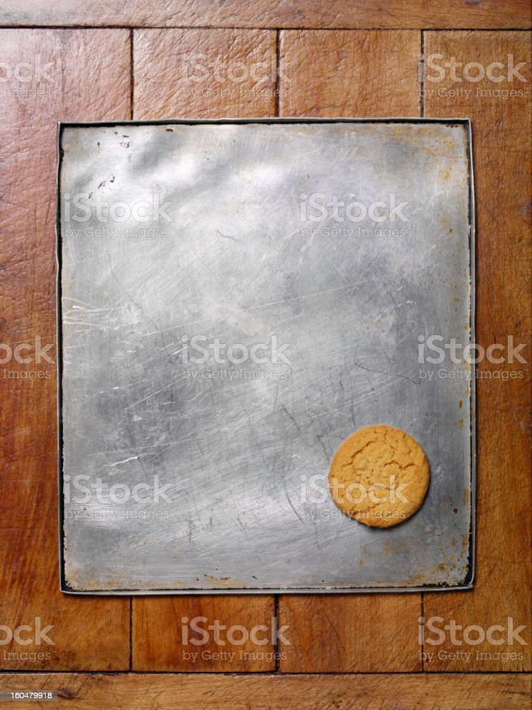 One Biscuit on Metal Baking Tray stock photo