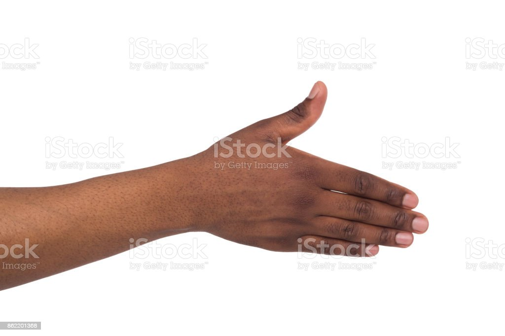 One black man's hand ready to shake hands stock photo