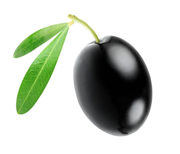 One black olive isolated on white​​​ foto