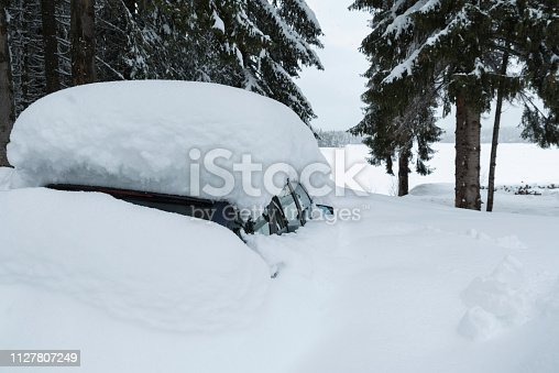 One blue car under the driven snow in the mountain among the pine trees. Selective focus
