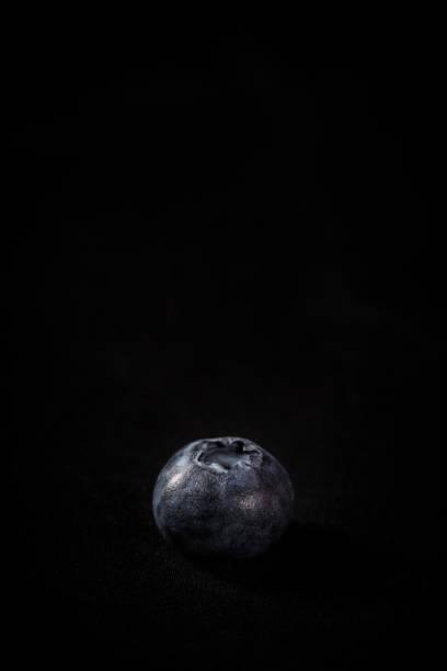 Eine Heidelbeere isoliert auf schwarzem Hintergrund mit Platz auf oben zum Kopieren – Foto