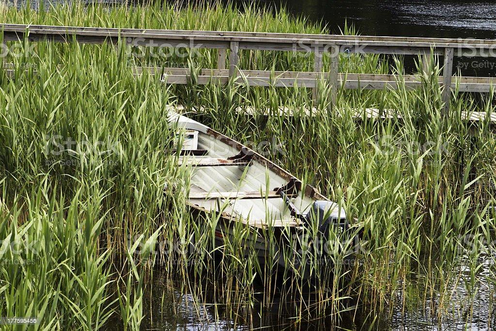 One Boat At Lakeshore royalty-free stock photo