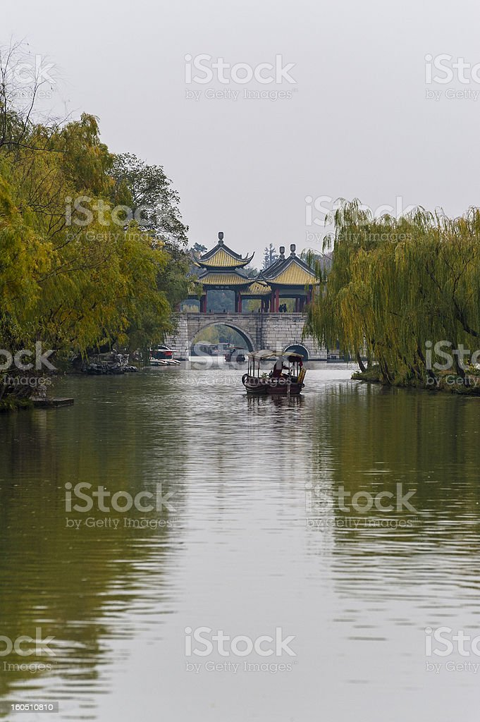 One boat in the lake, Yangzhou of China stock photo