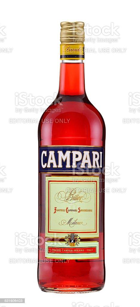 One bottle of Campari Bitter Liqueur stock photo