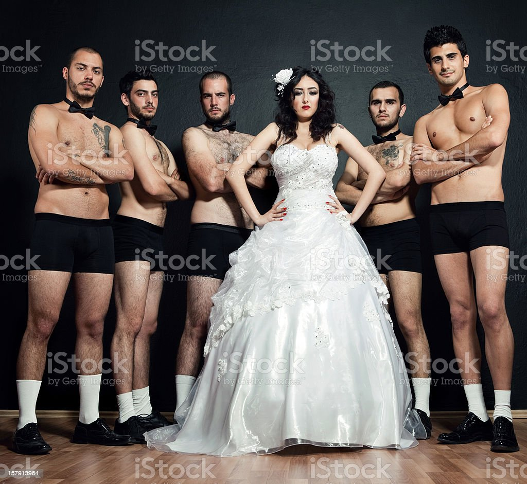 One bride Five grooms royalty-free stock photo