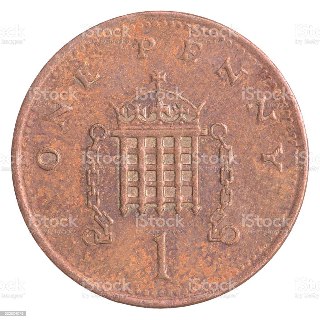 one british penny coin stock photo