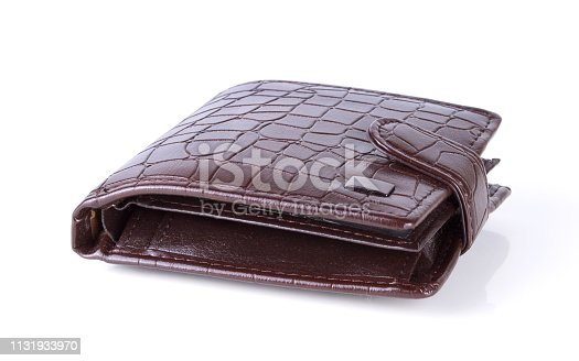 Brown natural leather wallet isolated on white background.