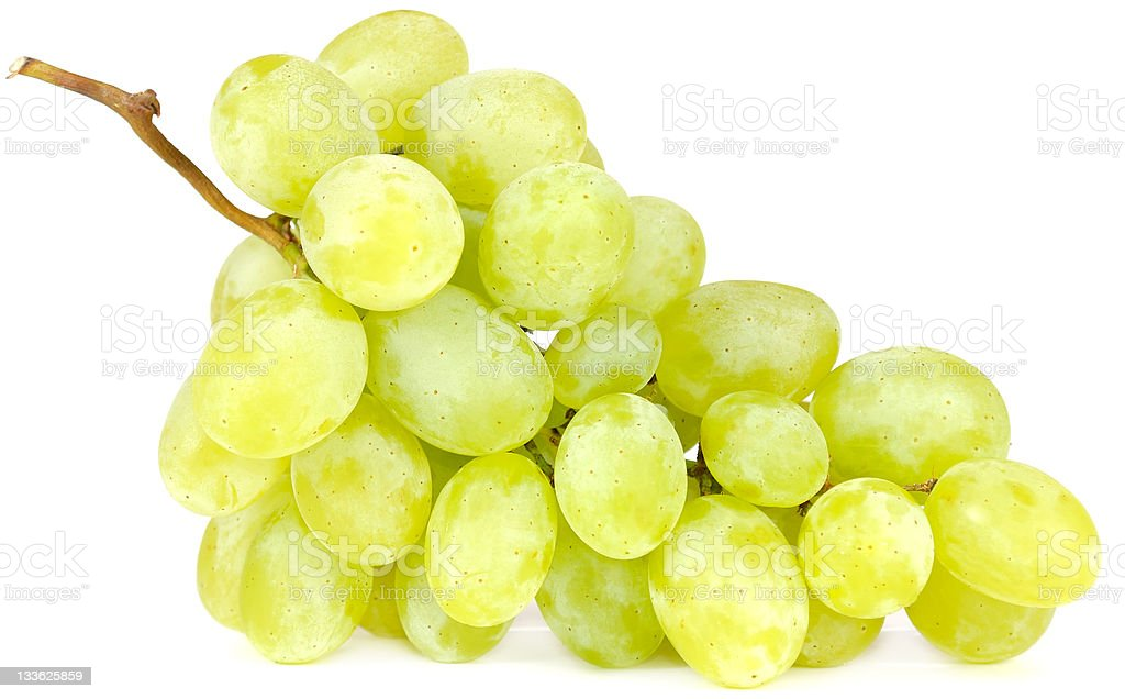 One bunch of green grapes with brown branch stock photo