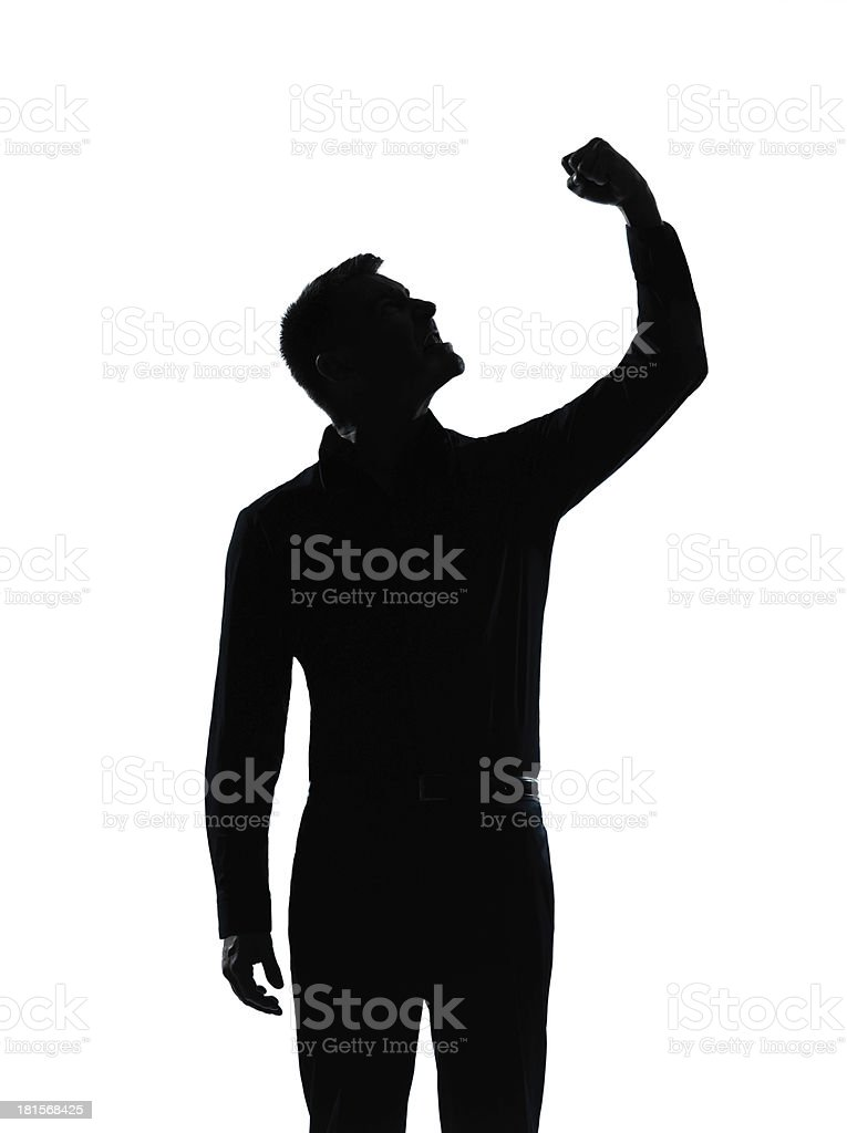 one business man angry fisting up silhouette royalty-free stock photo