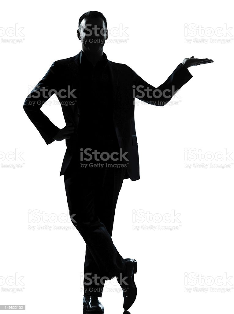 one business man hand open silhouette royalty-free stock photo