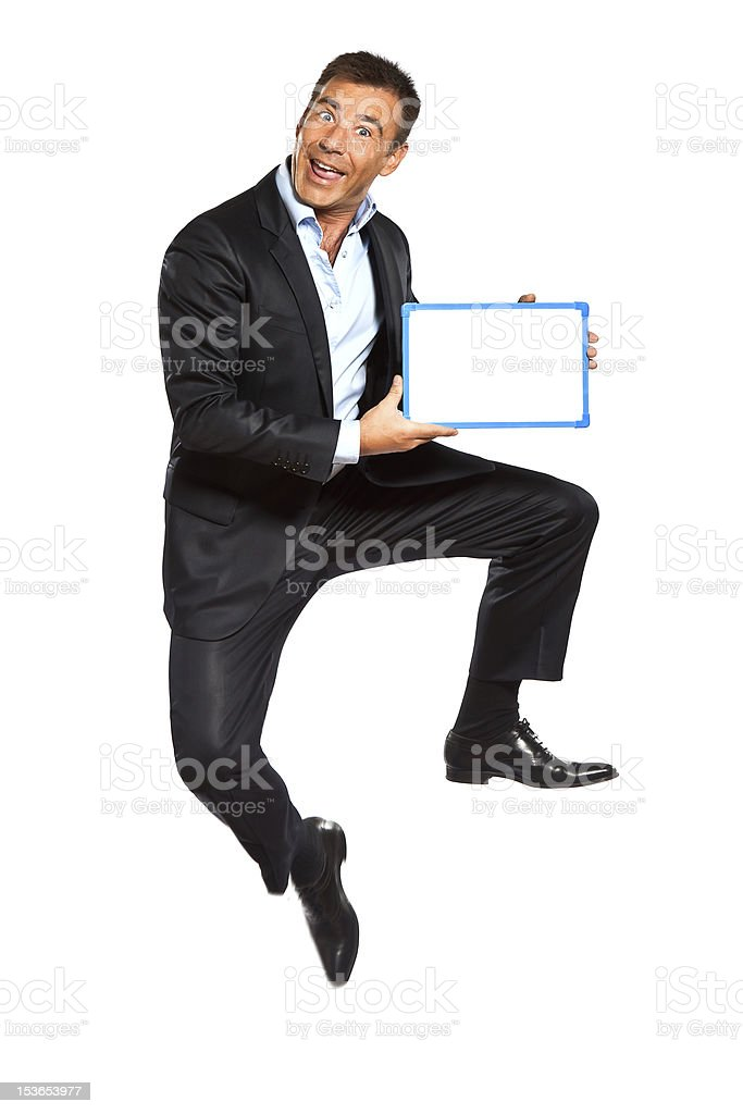 one business man jumping holding showing whiteboard royalty-free stock photo