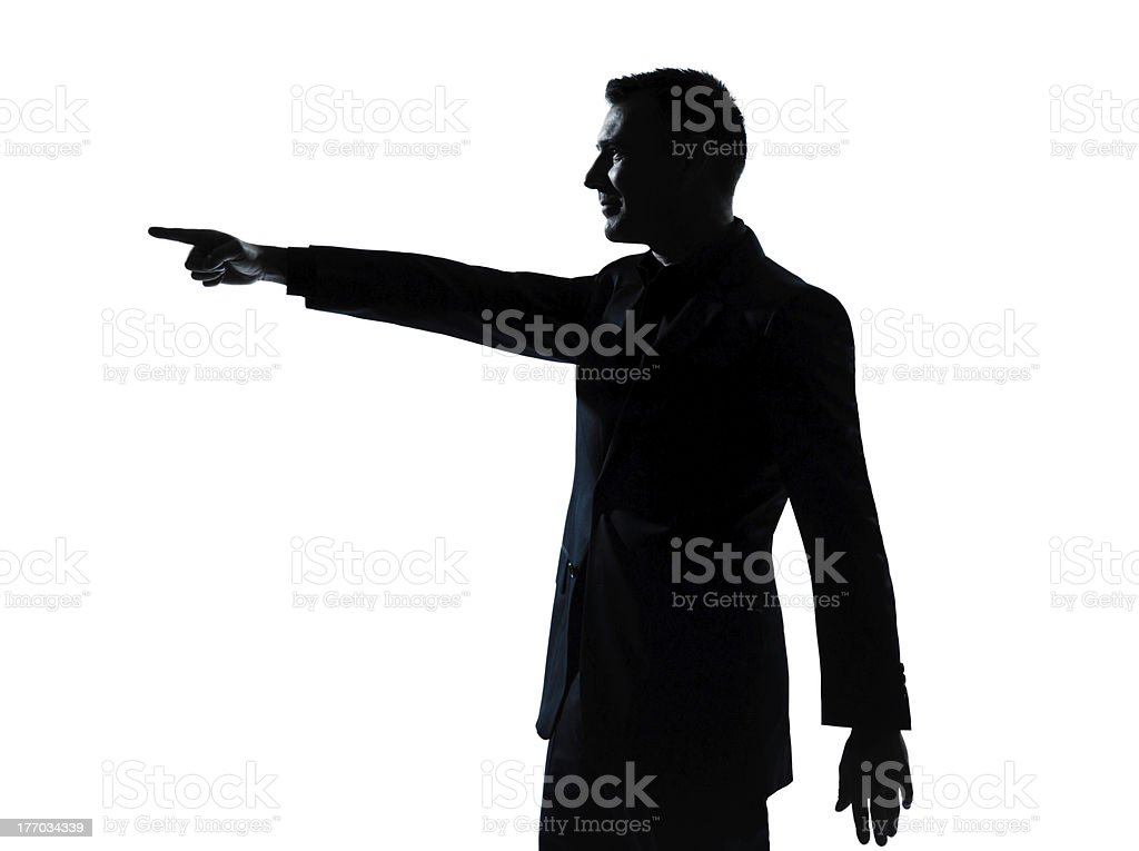 one business man poiting silhouette royalty-free stock photo