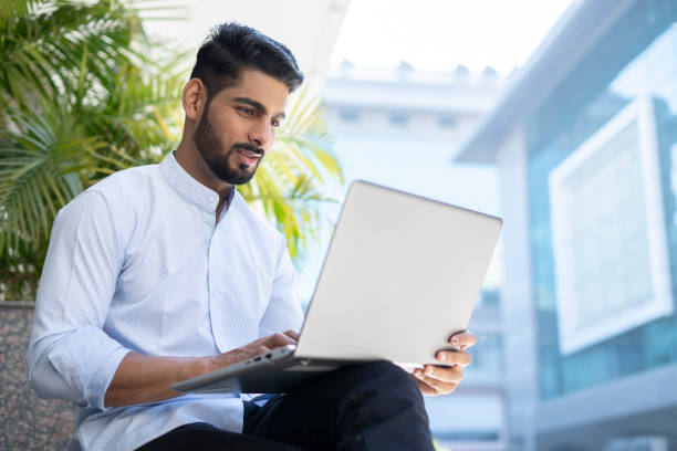 One Businessman One Businessman Working outside workplace india stock pictures, royalty-free photos & images
