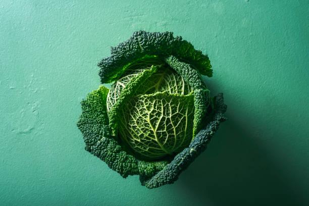 um repolho no fundo verde. repolho savoy. alimentação saudável - repolho verde - fotografias e filmes do acervo
