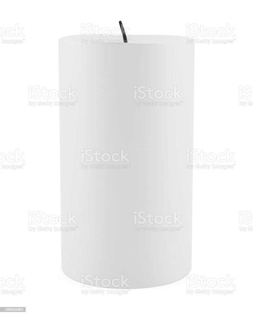 one candle isolated on white background stock photo