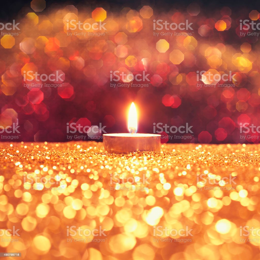 One candle stock photo