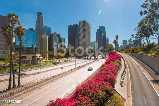 Los Angeles during the corona virus pandemic. Empty freeways no traffic on the 110 freeway. City under lockdown.