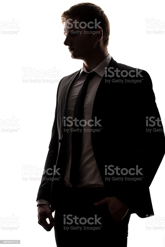 one caucasian business man handsome full suit standing full length stock photo