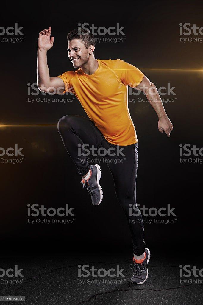 one caucasian man young sprinter runner running stock photo